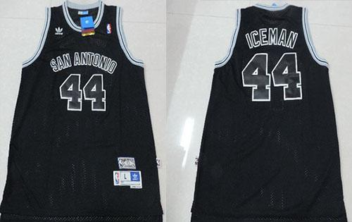 Spurs #44 George Gervin Black Iceman Nickname Stitched NBA Jersey