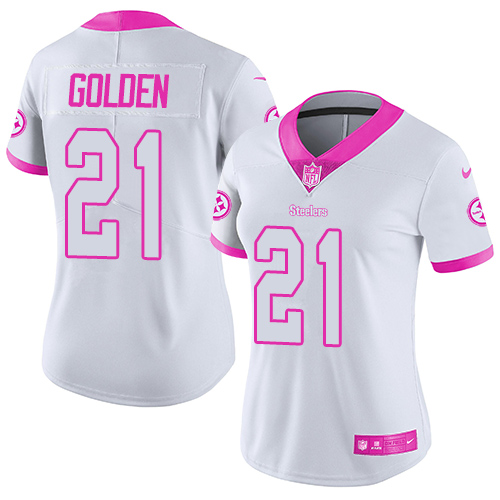 Women's Nike Pittsburgh Steelers #21 Robert Golden Limited White Pink Rush Fashion NFL Jersey