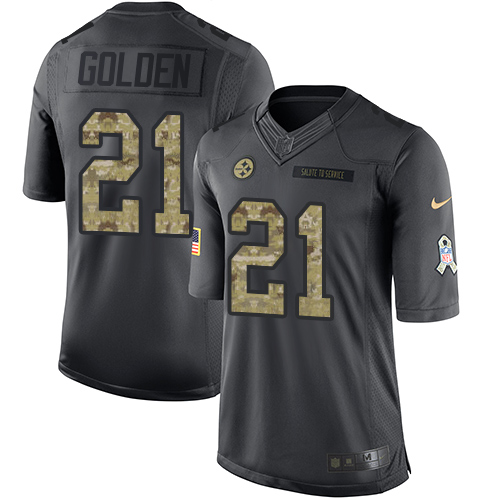 Youth Nike Pittsburgh Steelers #21 Robert Golden Limited Black 2016 Salute to Service NFL Jersey