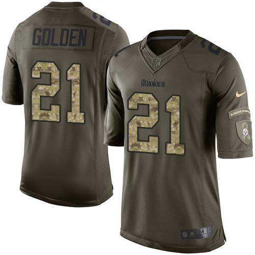 Youth Nike Pittsburgh Steelers #21 Robert Golden Limited Green Salute to Service NFL Jersey