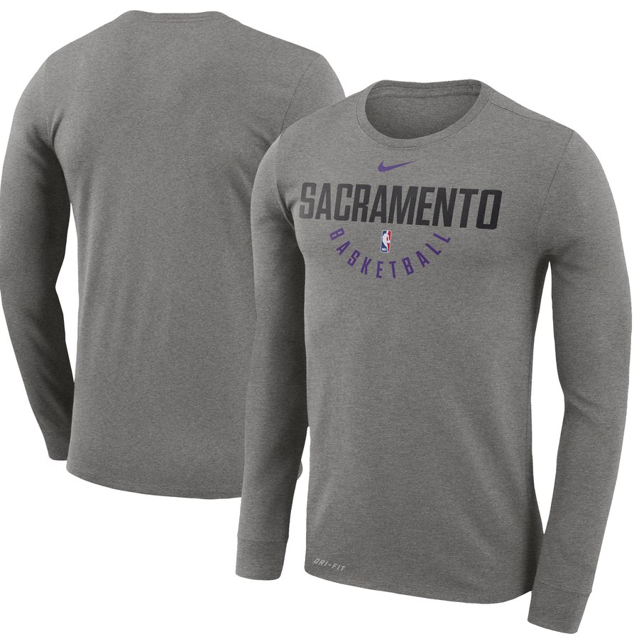 Men's Sacramento Kings Nike Practice Long Sleeve Performance T-Shirt Gray