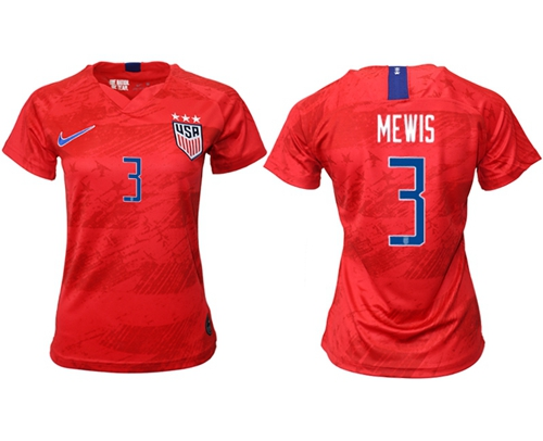 Women's USA #3 Mewis Away Soccer Country Jersey
