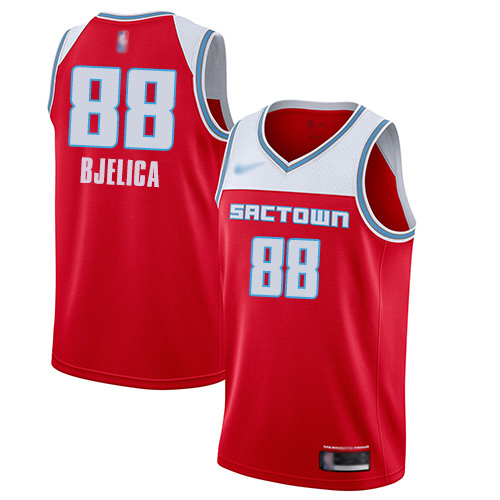 Men's Nike Sacramento Kings #88 Nemanja Bjelica Red NBA Swingman City Edition 2019 20 Jersey