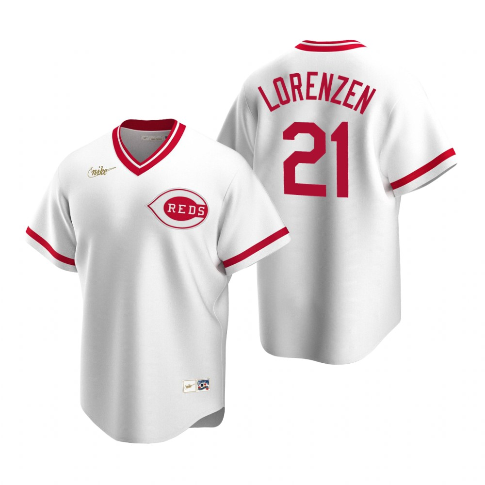 Men's Nike Cincinnati Reds #21 Michael Lorenzen White Cooperstown Collection Home Stitched Baseball Jersey