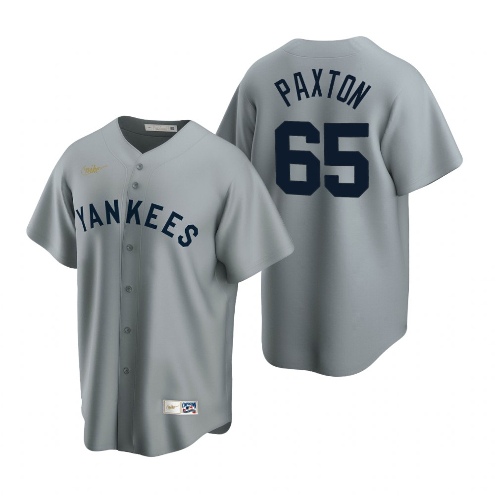 Men's Nike New York Yankees #65 James Paxton Gray Cooperstown Collection Road Stitched Baseball Jersey
